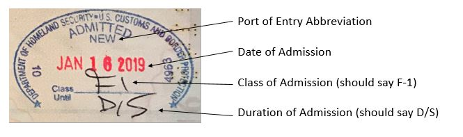 Port of Entry Stamp Sample